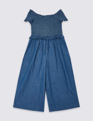 Marks and Spencer Denim Shirred Jumpsuit (3-16 Years)