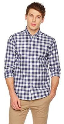 Clifton Heritage Men's Dress Shirt Classic Fit Long-Sleeve Button-Down Casual Gingham Shirt Blue&White ¡­