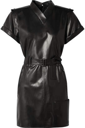 Tom Ford Belted Leather Mini Dress - Black