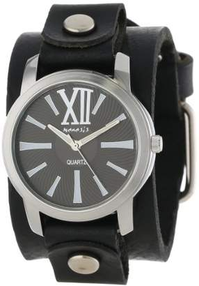 Nemesis Women's GB065KW Exclusive Collection Roman Black Leather Cuff Watch