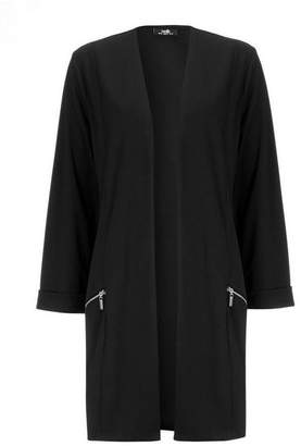Wallis Black Longline Zip Pocket Jacket