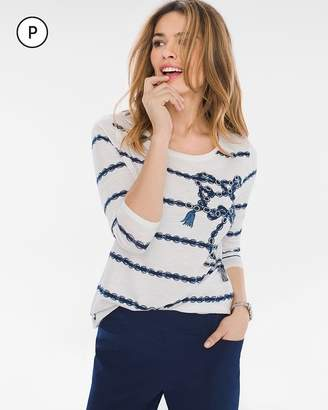 Zenergy Petite Striped Embroidered Tee