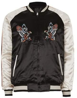 Topman Mens Black Embroidered Reversible Souvenir Bomber Jacket
