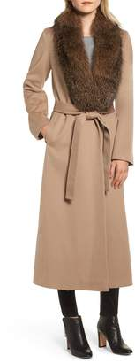 Fleurette Loro Piana Wool Shawl Collar Coat with Genuine Fox Trim