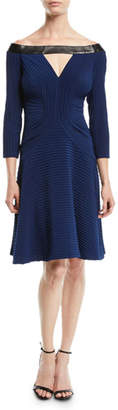 Tadashi Shoji Off-the-Shoulder Jersey Pintuck Dress w/ Contrast