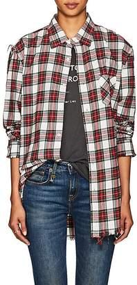 R 13 Women's Plaid Shredded Cotton Flannel Shirt