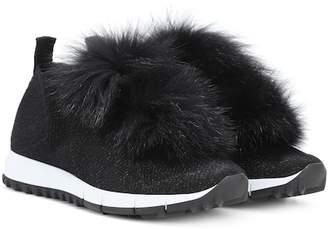 Jimmy Choo Norway fur-trimmed sneakers