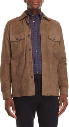 Luciano Barbera Leather Flap Pocket Jacket