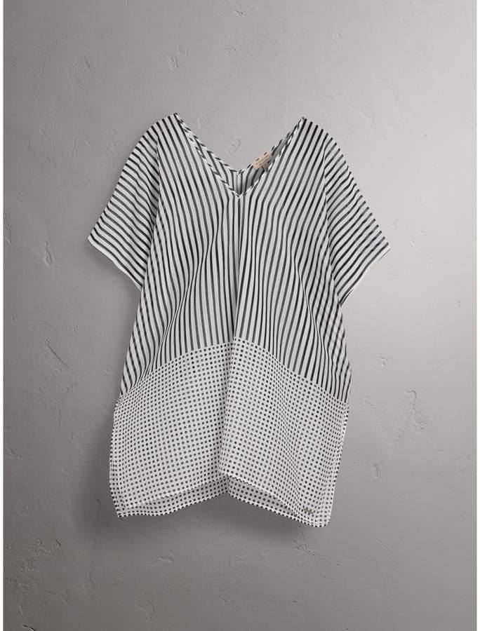 Burberry Stripe and Spot Print Cotton Silk Kaftan