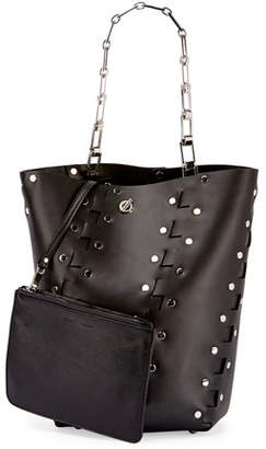 Proenza Schouler Hex Medium Studded Leather Bucket Bag, Black