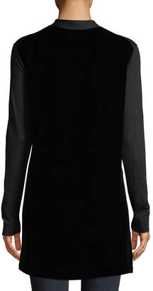 Lafayette 148 New York Open-Front Velvet-Back Cardigan