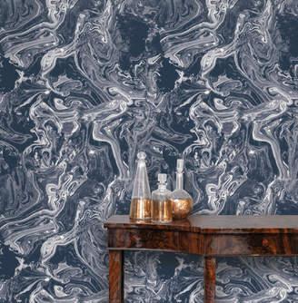 Lulu & Georgia Marbled Blue Removable Wallpaper