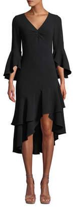 Shoshanna Florette Bell-Sleeve Crepe Ruffle Dress