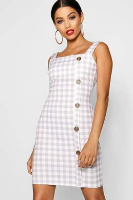 boohoo Square Neck Mock Horn Button Check Shift Dress