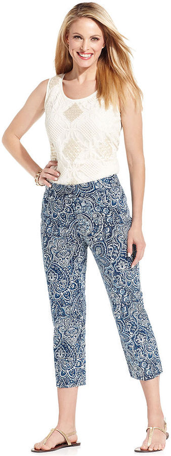 Charter Club Pants, Printed Cropped
