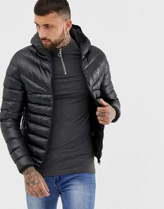 Gym King hooded puffer jacket in black