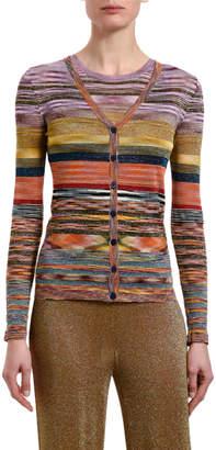 Missoni Multicolor-Striped Button-Front Cardigan