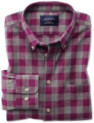 Charles Tyrwhitt Slim Fit Button-Down Washed Oxford Berry and Grey Check Cotton Casual Shirt Single Cuff Size XS