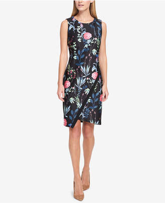 Tommy Hilfiger Floral-Printed Asymmetrical-Hem Sheath Dress