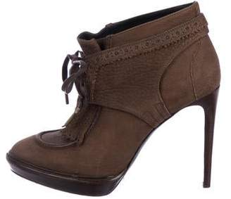 Burberry Suede Round-Toe Ankle Boots