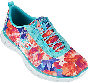 As Is Skechers Floral Stretch-Fit Bungee Sneakers - Glider Posies $33 thestylecure.com