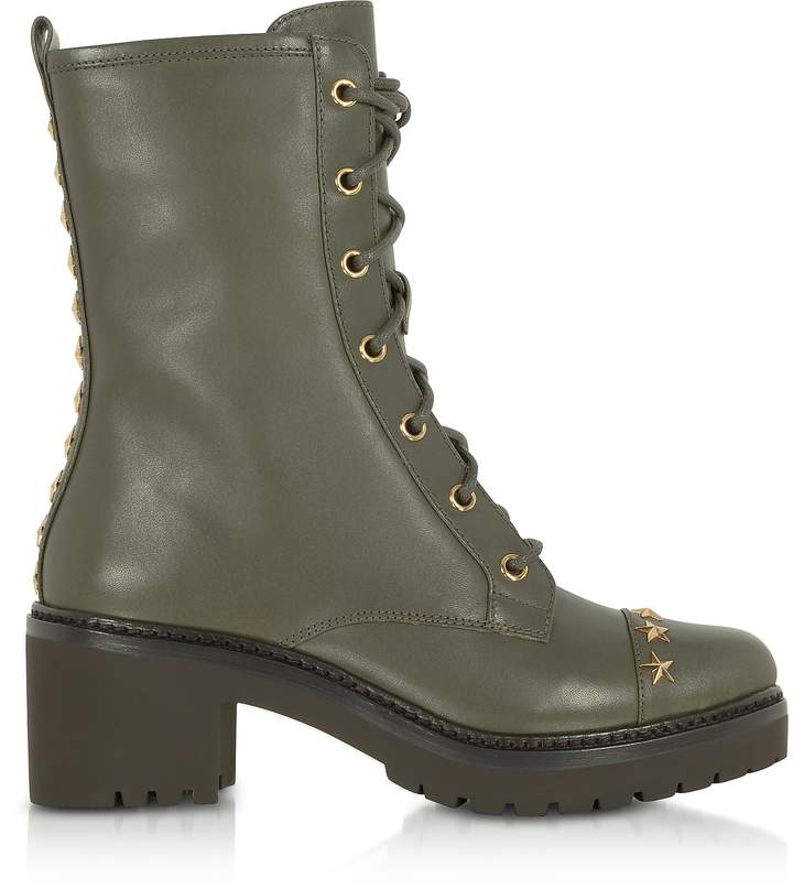 Michael Kors Cody Olive Leather Mid-Heel Boots w/Star Studs