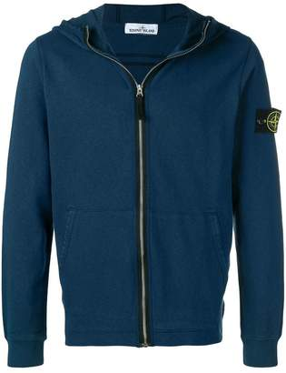 Stone Island logo patch zip hoodie