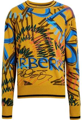 Burberry graffiti scribble intarsia sweater