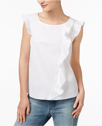Maison Jules Cotton Ruffled Top, Created for Macy's $59.50 thestylecure.com