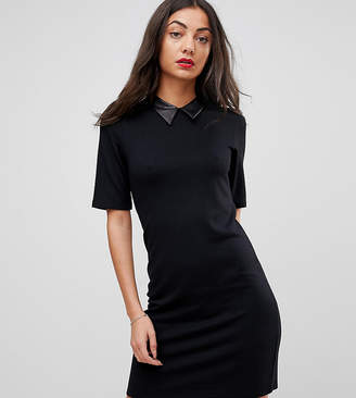 Asos Tall TALL Mini T-Shirt Dress With Faux Leather Collar
