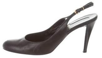 Salvatore Ferragamo Leather Round-Toe Slingbacks