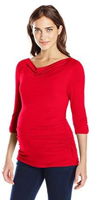 Everly Grey Women's Judith 3/4 Sleeve Side Shirred Maternity Top