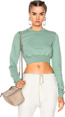 DRKSHDW by Rick Owens Crew Cropped Sweatshirt $380 thestylecure.com