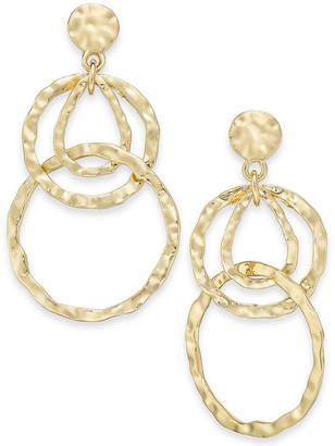 INC International Concepts I.N.C. Gold-Tone Hammered Circles Drop Earrings, Created for Macy's
