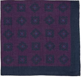 Barneys New York Men's Floral-Medallion-Print Linen Pocket Square