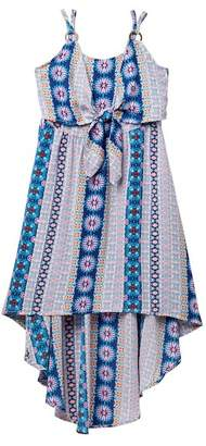 My Michelle mymichelle Tie Front Printed Hi-Lo Dress (Big Girls)