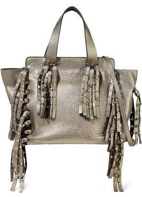 Valentino Studded Fringed Metallic Pebbled-Shoulder Bag