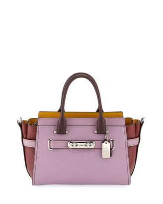 SWAGGER Coach 1941 27 Colorblock Pebbled Leather Tote Bag