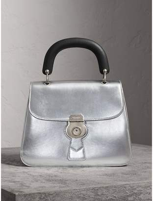 Burberry The Medium DK88 Top Handle Bag in Metallic Leather, Grey