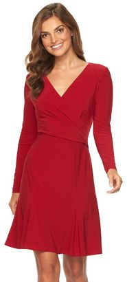 Women's Chaps Faux-Wrap Godet Dress $95 thestylecure.com