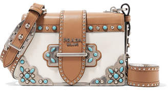 Prada Cahier Embellished Two-tone Leather Shoulder Bag - Tan