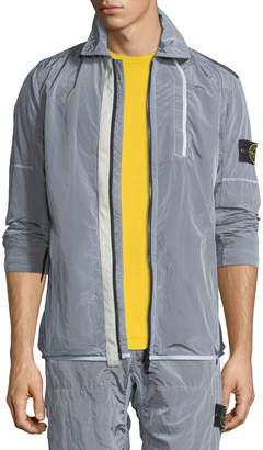 Stone Island Men's Nylon Shirt Jacket with Jersey Lining