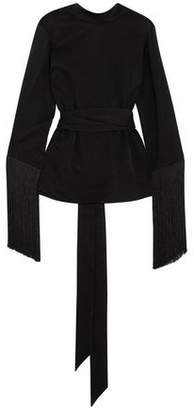 Ellery Lottery Fringed Satin-Jersey Wrap Top
