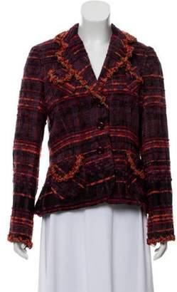 Anna Sui Embroidered Knit Blazer Violet Embroidered Knit Blazer