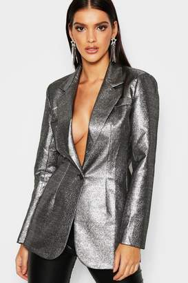 boohoo Longline Metallic Blazer