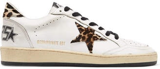 Golden Goose Ball Star Leopard-print Calf Hair And Leather Sneakers - White