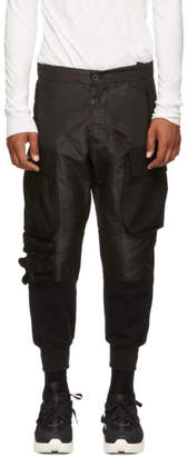 Unravel Black Faille Hybrid Sweat Cargo Pants