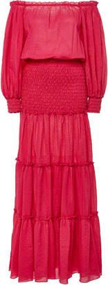 Alexis Thalssa Off-The-Shoulder Shirred Cotton-Voile Maxi Dress