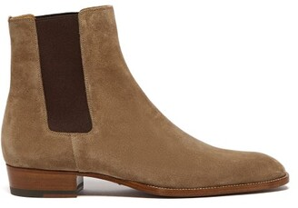 Saint Laurent Wyatt Suede Chelsea Boots - Mens - Brown