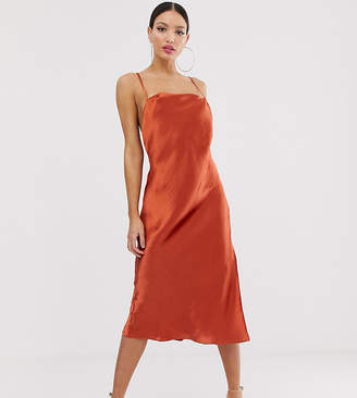 Asos Tall DESIGN Tall cami slip midi dress in high shine satin with strappy back
